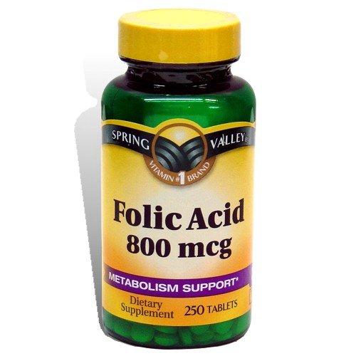 Spring Valley - Folic Acid 800 mcg, 250 Tablets